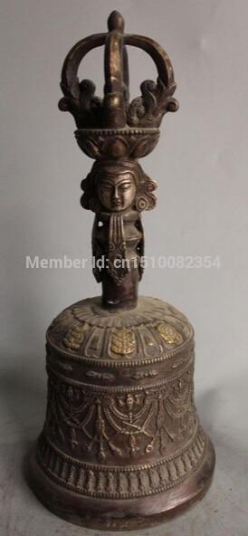 "15 ""tibetano Ritual budista cobre dorado 8 auspicioso símbolo Dorje Vajra Bell"
