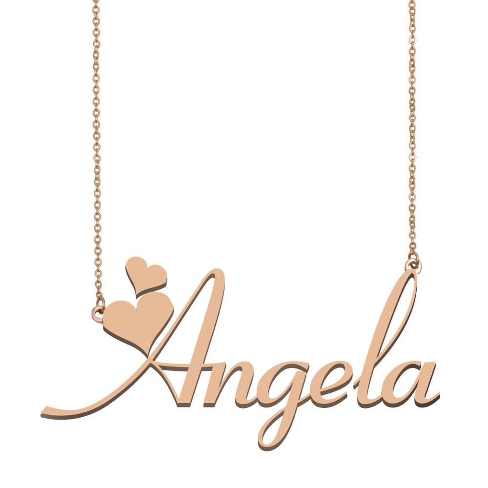 Collar con nombre de Angela, collar con nombre personalizado para las mujeres y las mejores amigas boda cumpleaños regalo del Día de la madre de Navidad