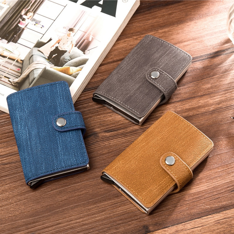 YAMBUTO 2012 Men's RFID Antimagnetic Small Wallet Denim Aluminum Alloy Metal Card Case Business Cred
