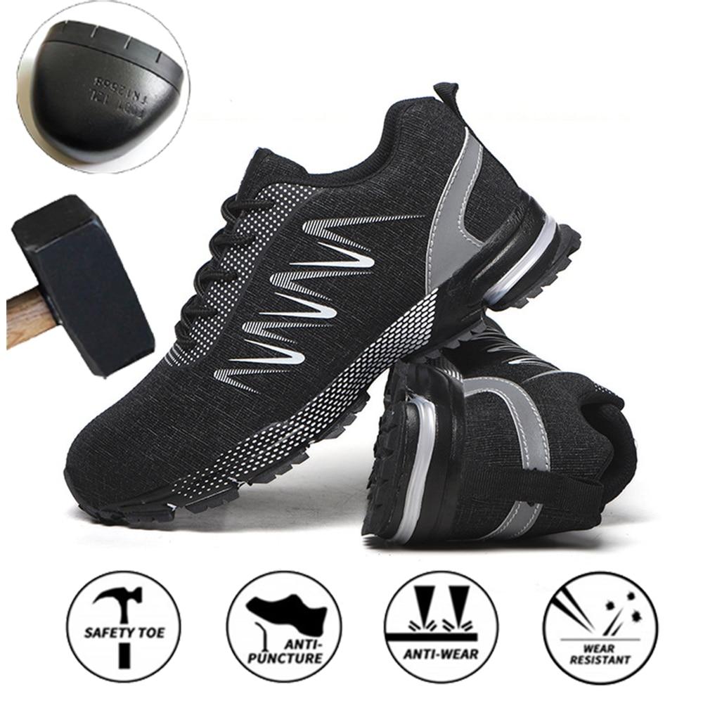 تنفس مكافحة تحطيم أحذية أمان الرجال مكافحة ثقب ملابس رياضية مقاومة عدم الانزلاق السلامة واقية أحذية عمل