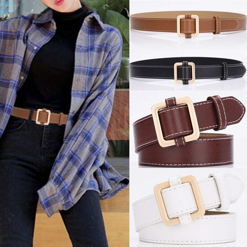 Women's authentic fashion leather belt alloy material square buckle ladies retro high quality belt w