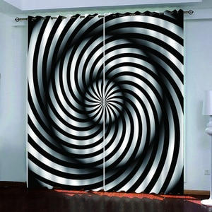 European Style Curtain Blackout Printing Living Room Bedroom Curtains black and white abstract Curtains
