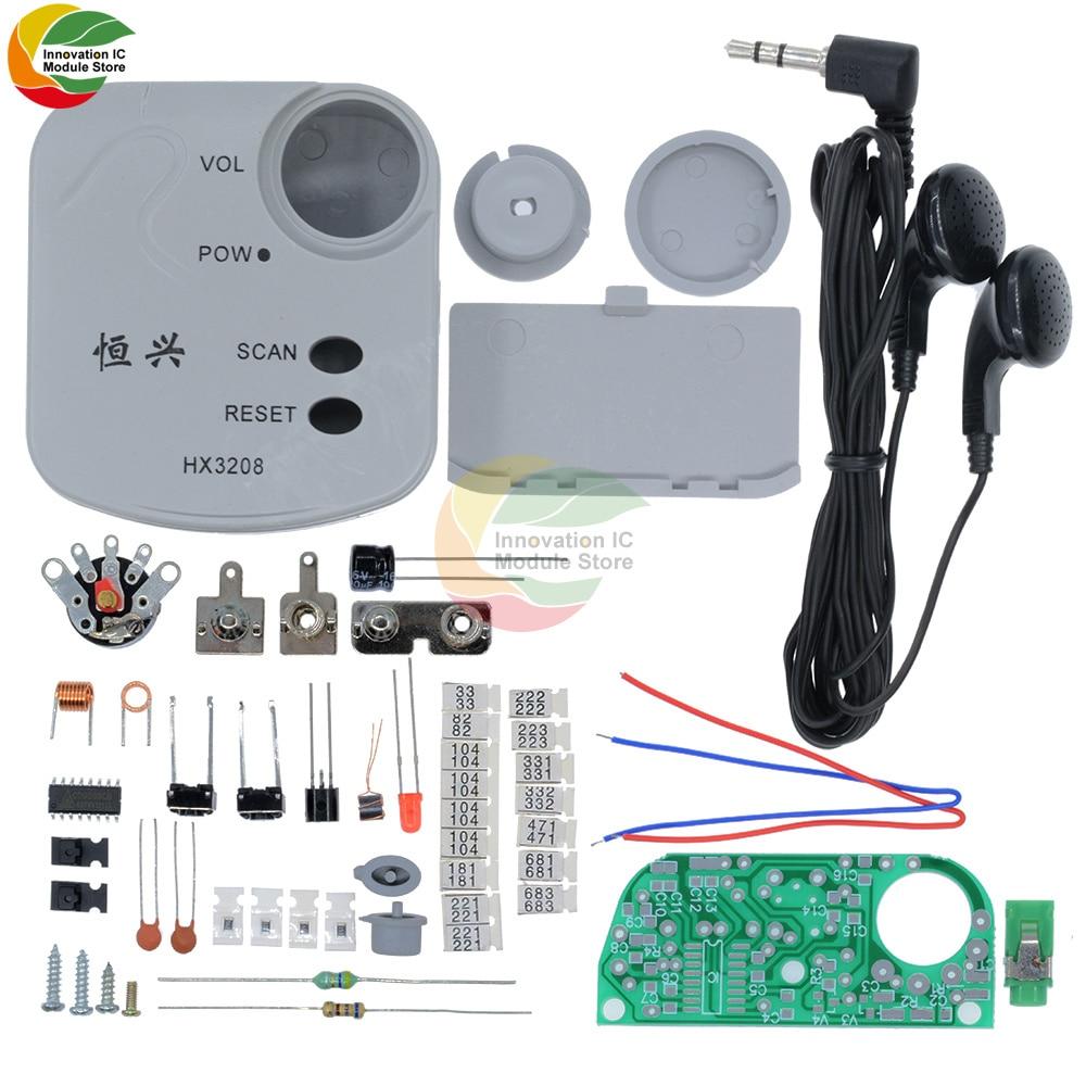 76 108mhz fm stereo radio diy kit wireless fm receiver module frequency modulation electronics soldering practice project Ziqqucu HX3208 Radio Electronic DIY Kits FM Frequency Modulation Micro SMD Radio Module 1.8V-3.5V High Sensitive
