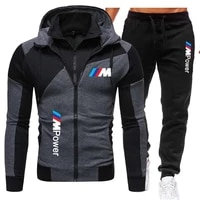 Recente bmw m moletom com capuz de 2 pecas   calcas de moletom com ziper moletom com capuz masculino terno de jogging SuitS-