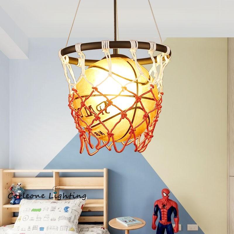 كرة السلة قلادة أضواء الصناعية لوفت مصباح معلق للأطفال غرفة قلادة مصباح الأطفال هدية عيد المنزل ديكو تركيبات إضاءة