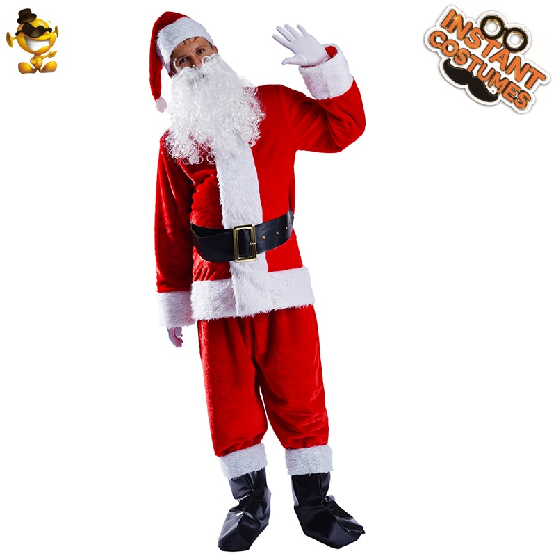 Christmas Cosplay Adult Men's  Santa Claus Costume Decoration Christmas Clothing Party Fancy Dress Up for Male newest christmas costume santa claus costume suit adult couple performance costume set outfit