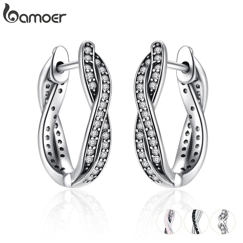 BAMOER Authentic 925 Sterling Silver Twist Of Fate Hoop Earrings Clear CZ for Women Wedding Trendy Jewelry PAS465