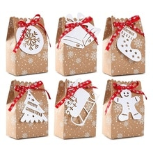 24Pack Christams Goodies Bag Xmas Candy Gifts Kraft Bags With Tags For Holiday Christmas Party Suppl