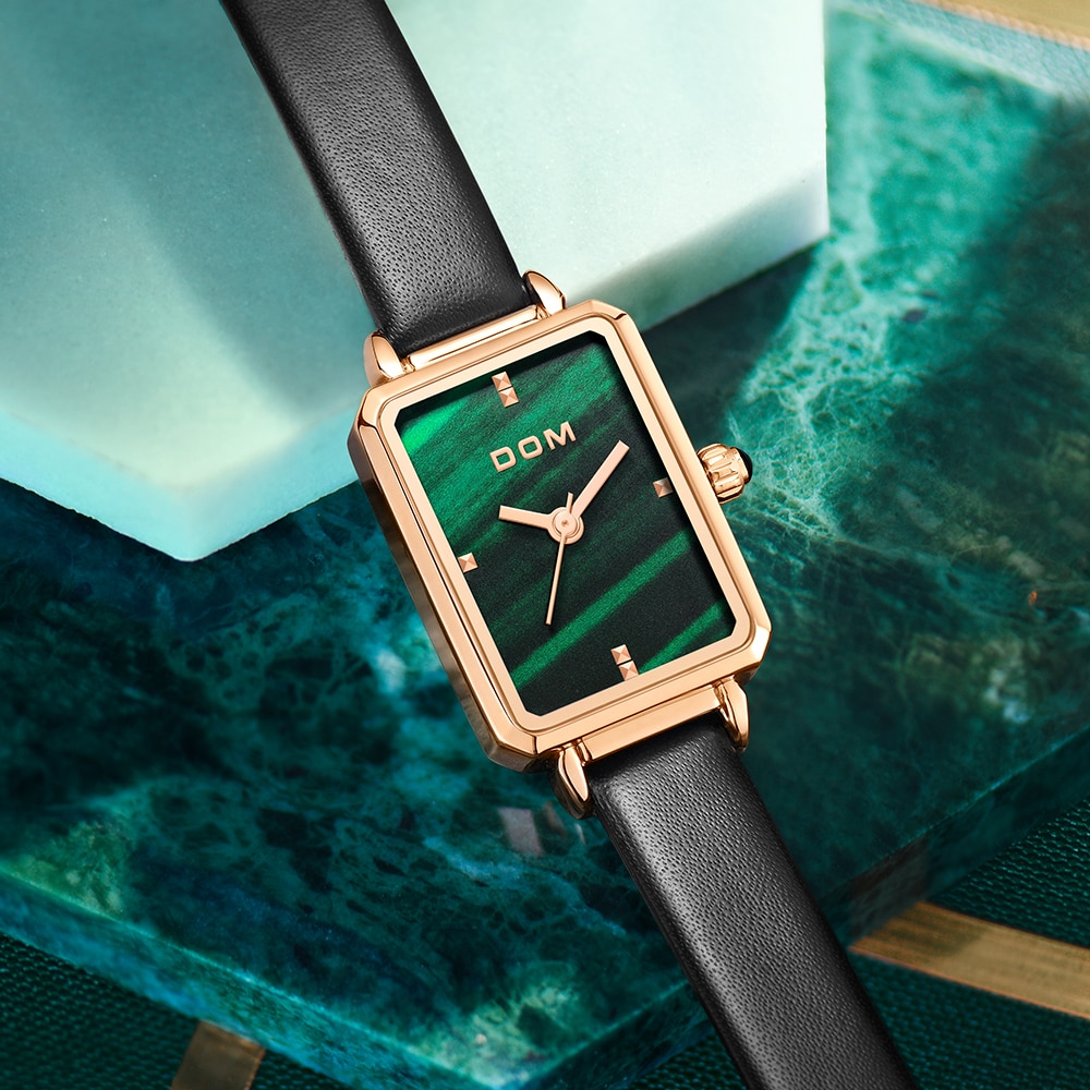DOM Ladies Watch Small Green Disk Fashion Luxury Trend Casual Waterproof Swimming Leather Women's Watch G-1337 enlarge