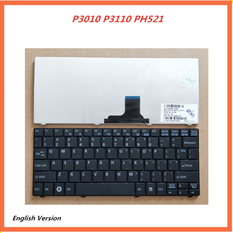 Teclado Inglés para portátil Fujitsu P3010 P3110 PH521, para portátil de reemplazo, diseño de teclado