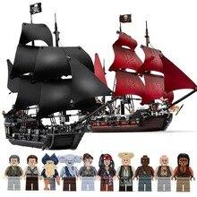 Noir perle navire Compatible caraïbes Pirates navires modèle blocs de construction garçons cadeaux danniversaire enfants jouets