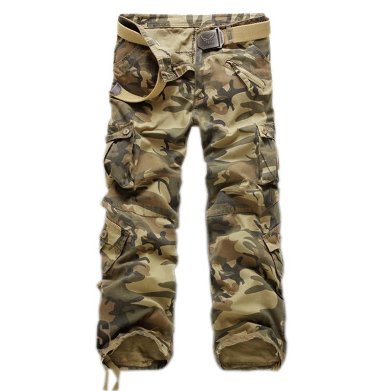 Брюки-карго мужские камуфляжные, повседневные брюки с несколькими карманами, варенные штаны в стиле милитари, свободные штаны