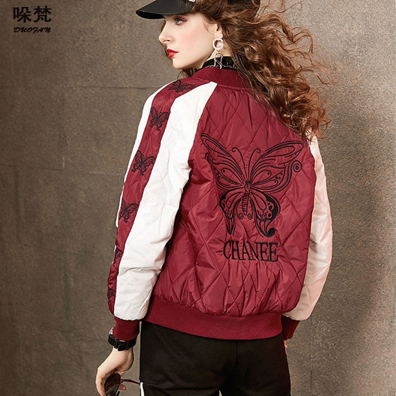DUOFAN 2021 Hip Hop Butterfly Embroidery Patchwork Parkas Jackets Women Harajuku Bomber Jacket Men Baseball Coats Winter DF0012