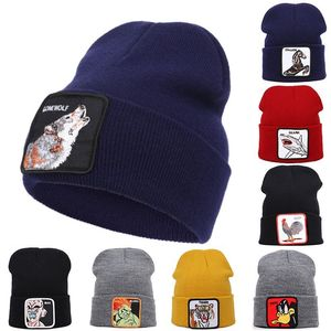 New Wool Cap Animal Pattern Autumn Winter Warm Embroidery Cock Personality Beanies Men Knitted Hat Women