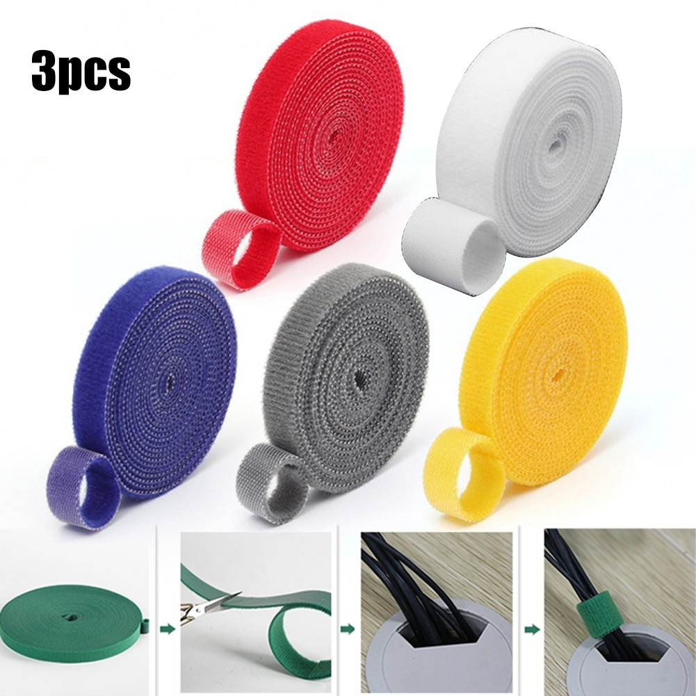 3Pcs Tie Tape Plant Ties Hook Loop Garden Supports Bamboo Cane Wrap Plant Support Care Cages Green Garden Twine