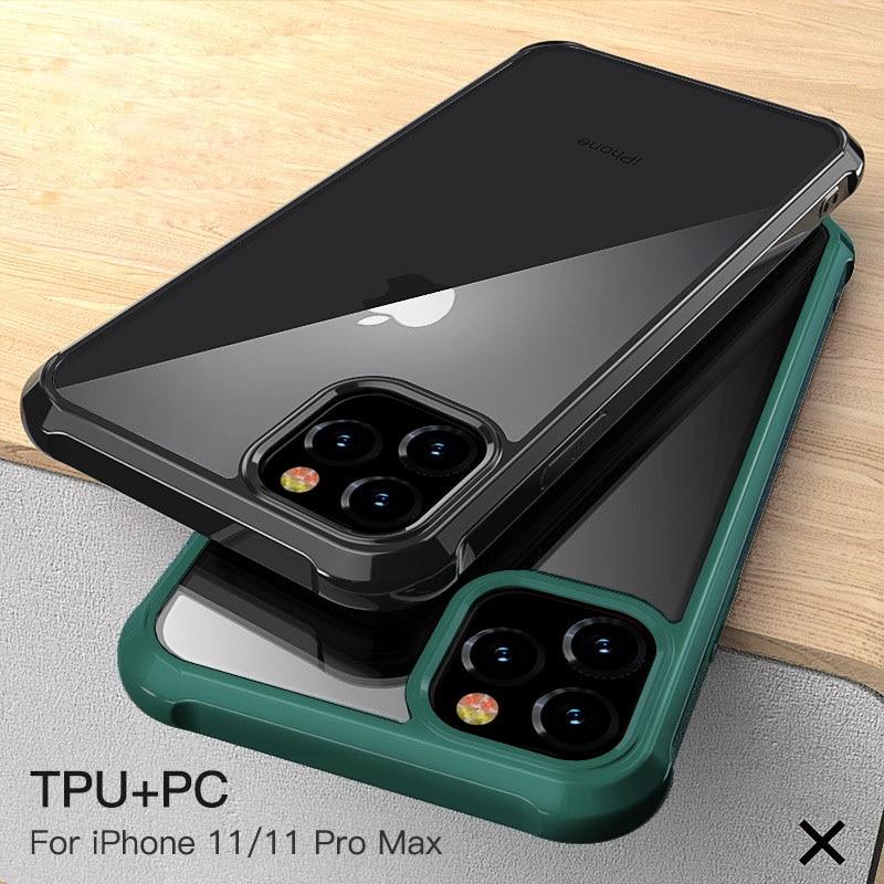 Funda para iPhone 11 Pro Max 11 Pro 11 acrílico transparente de Lujo + Marco de silicona funda antigolpes para iPhone XS Max XR XS X 7 8 Plus