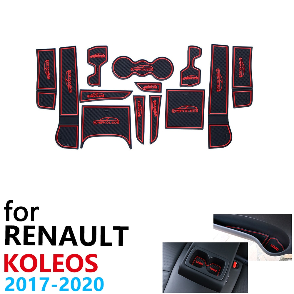 Antideslizante de caucho taza cojín puerta ranura Mat para Renault Koleos MK2 Samsung QM6 2017, 2018, 2019, 2020 para teléfono