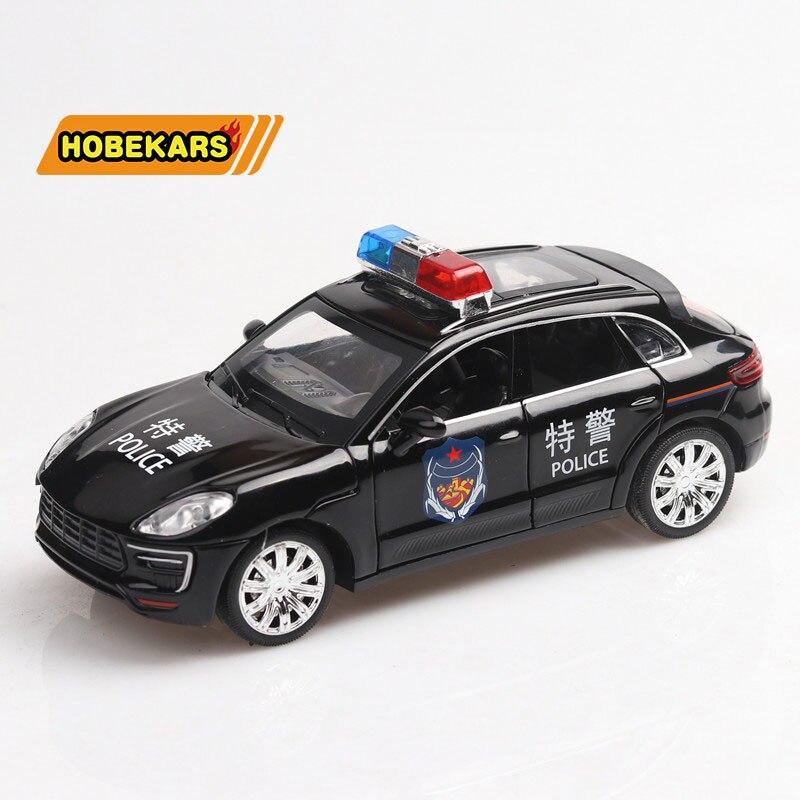 132 coche todoterreno de policía Cayenne Diecast y vehículos de juguete simulación de aleación de Metal coches extraíbles juguetes para niños regalos para niños