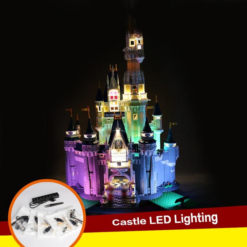 Compatible With 71040 Building Castle Colorful Lighting Creative DIY Luminous Building Block Lighting 16008 diy building block creative colorful led night light usb battery dual use building block module 64pcs