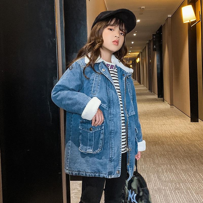casaco jeans grande de veludo para meninas casual inverno pelucia grosso quente meninas