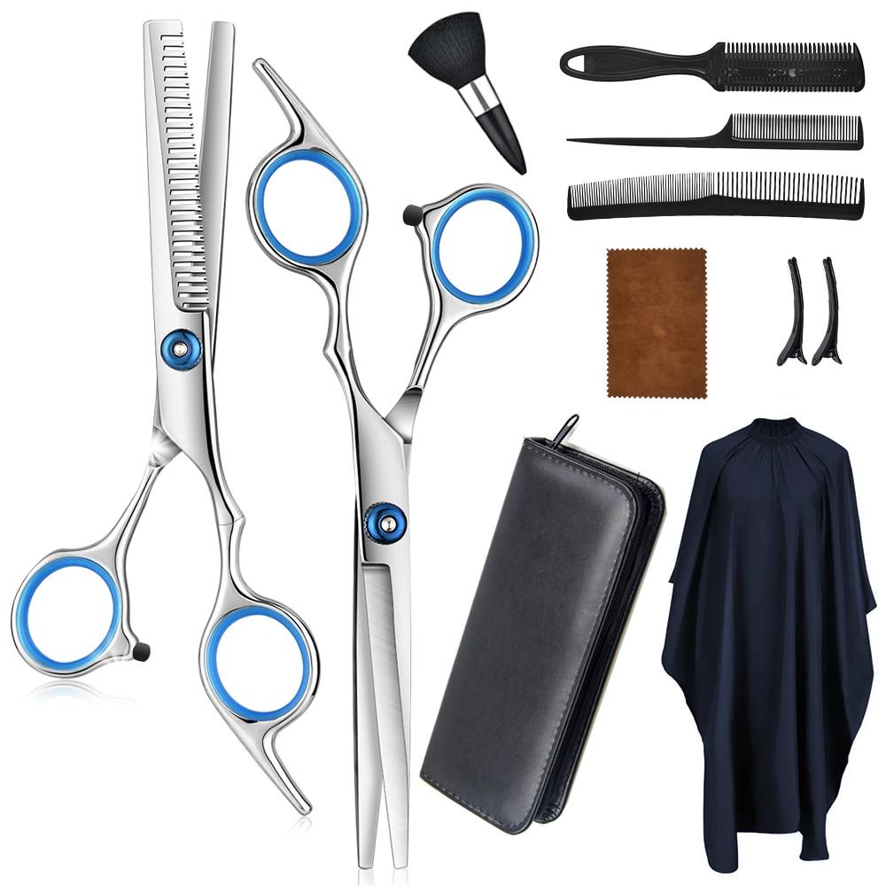 tesoura de corte de cabelo profissional conjunto tesouras de desbaste pente de navalha