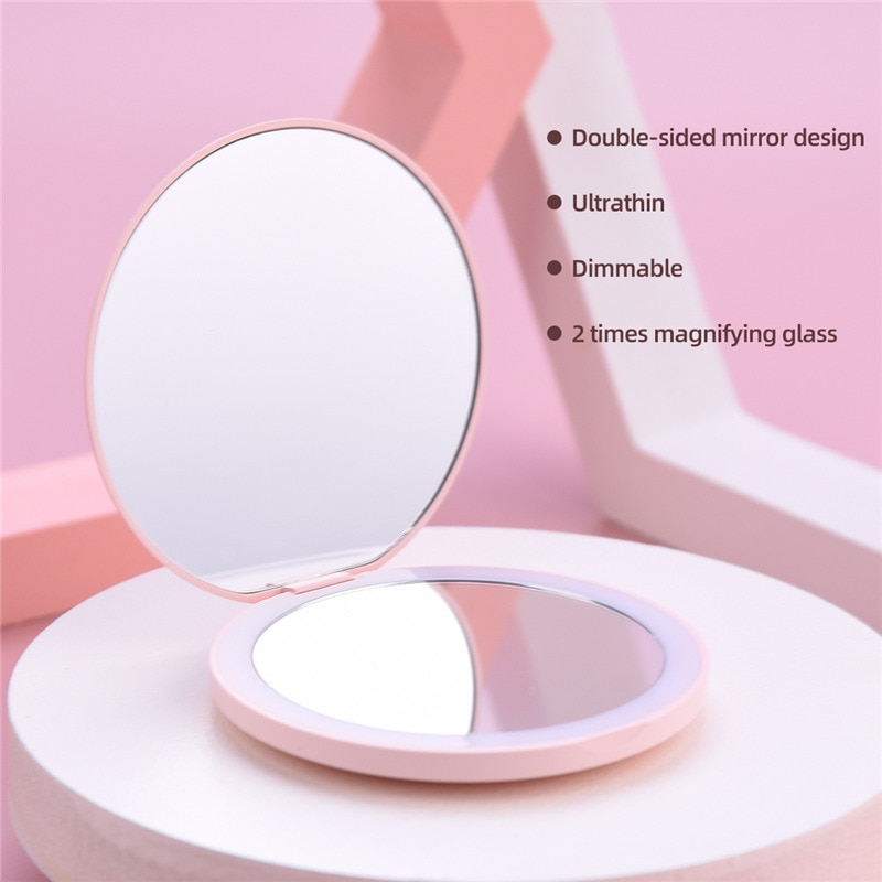 CkeyiN Magnifying Lighted Makeup Mirror Dimmable Mini Round LED Make Up Mirror Portable USB Charging Folding Dual-sided Mirror