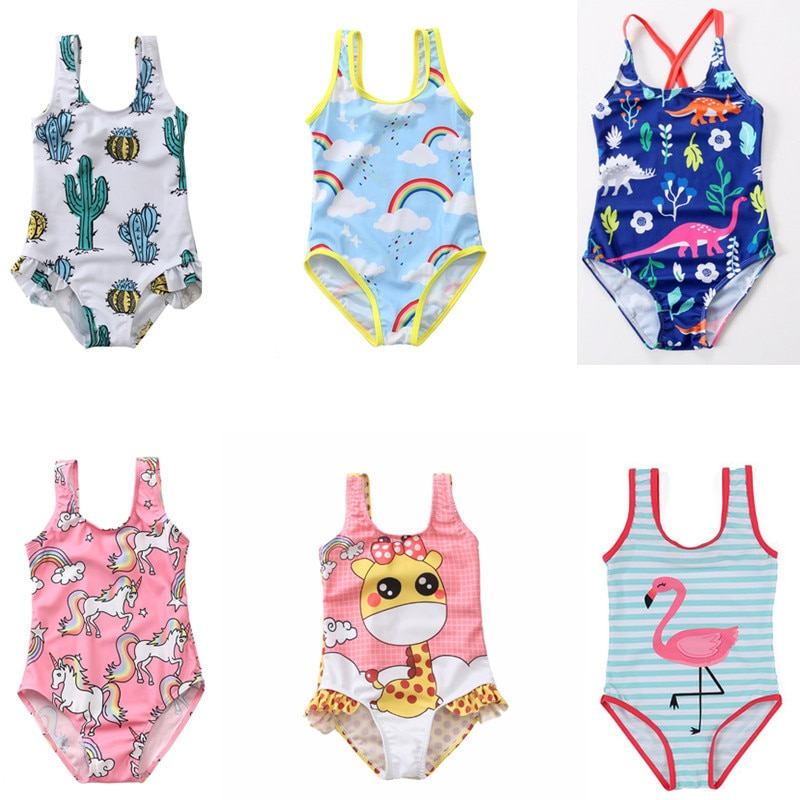 new summer baby swan swimsuit fashion ruffle flamingo kids swimsuit cute baby beach wear with matching hat free shipping yz066 Summer beach dress kids outdoor little girl swimsuit cute pattern printing unicorn flamingo fish baby girl one-piece swimsuit