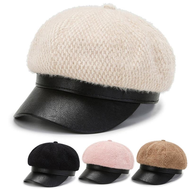 HT3830 береты женские осенне-зимние шапки модные Восьмиугольные кепки газетчика из искусственного кроличьего меха женские кожаные поля