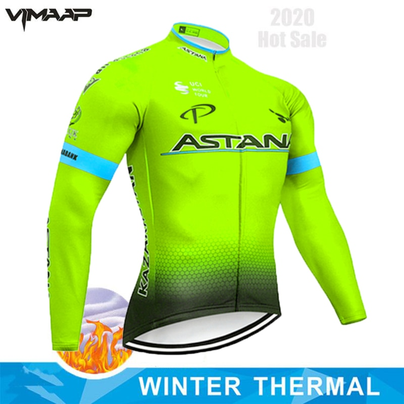ASTANA 2020 Winter Jacket Thermal Fleece Men Cycling Jersey Clothing MTB Mountain Outdoor Triathlon Wear Bicycle Clothes STRAVA