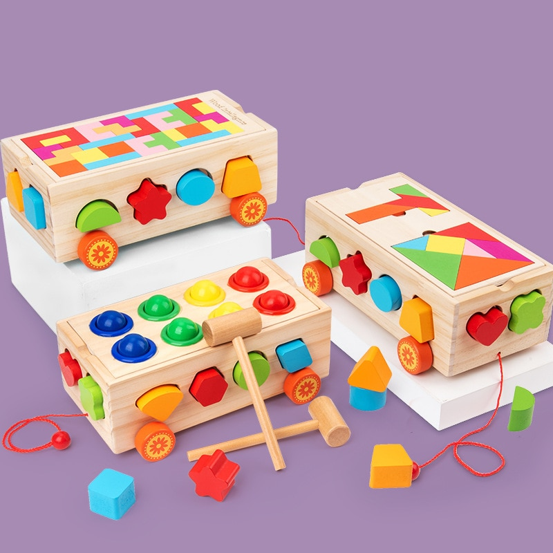 children s building blocks toys 1 3 years old baby shape matching wooden Montessori Educational Toy Kids Wooden Building Blocks Intelligence Box Shape Sorter Toys Children Matching Game Toys Gift