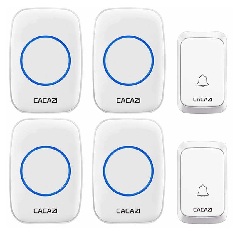 CACAZI Intelligent Waterproof Wireless Doorbell LED Light Home Cordless Call Ring Bell 2 Button 4 Re