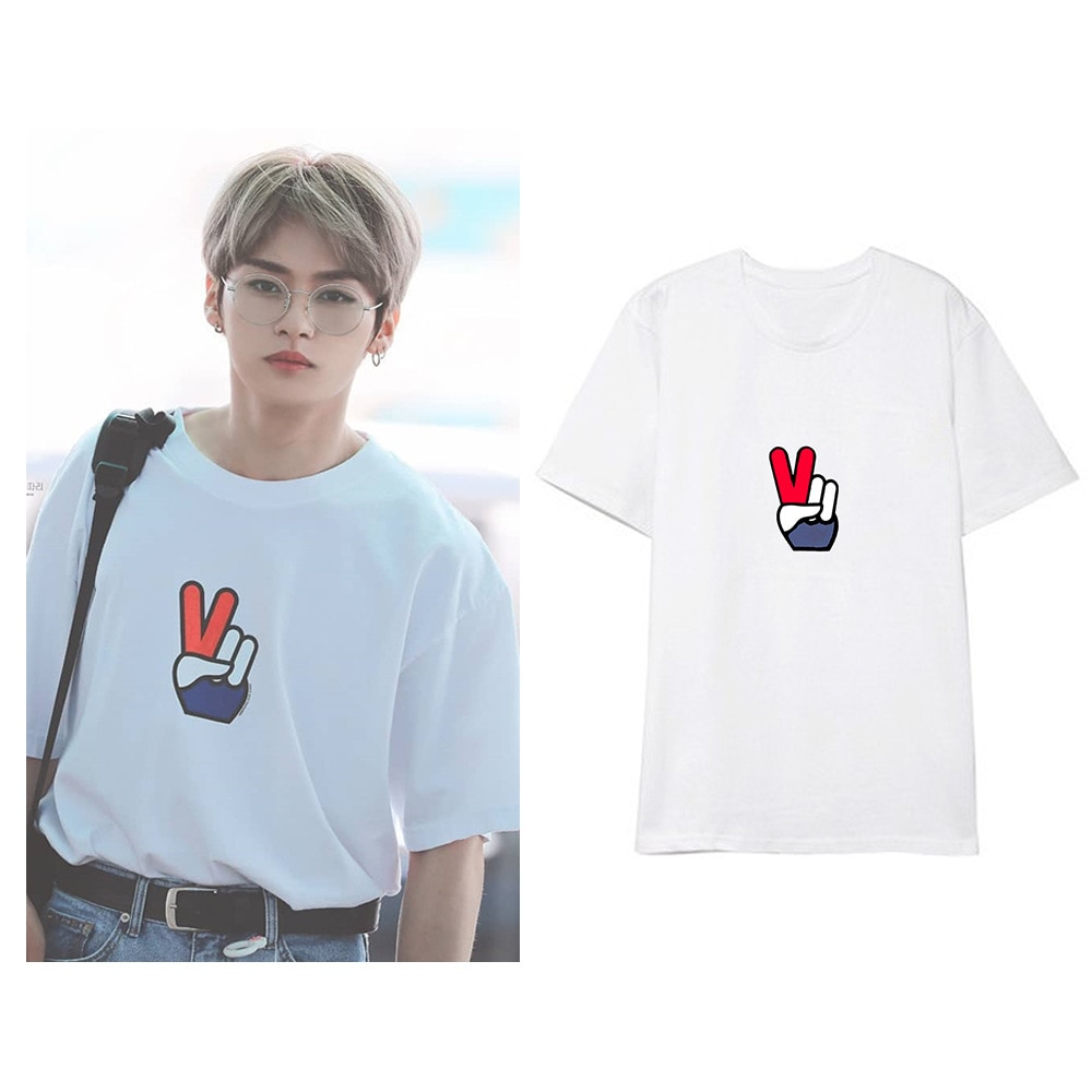 kpop Straykids clothe Korean student couple summer LEE KNOW stray kids short sleeved T-shirt women k-pop T shirt k pop Tshirt