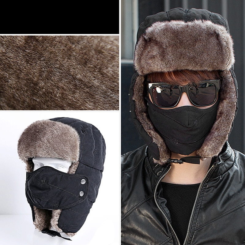 men women motorcycle face mask moto winter hat ears earflap hats trapper hat male trooper snow ski hat hunting cap 2021 New Men's Warm Chunky Trapper Hat Removable Windproof Winter Russian Hats With Mask Snow Ski Cap With Scarve