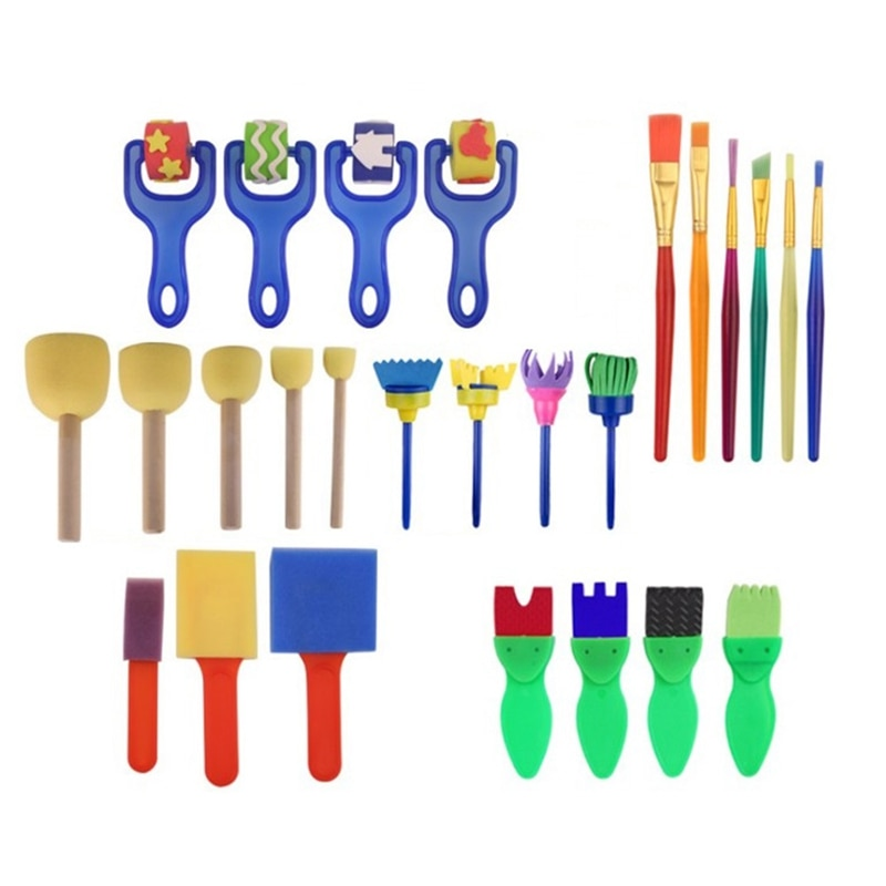 26PCS/SET Washable Sponge Painting Brushes Set for Kids Children Toddler Early Education Toys Art Supplies Gifts