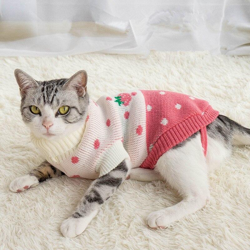 Зимняя одежда для собак с сердечком, теплый Рождественский свитер для кошек, для маленьких собак, верхняя одежда для питомца, вязаная крючком ткань, трикотаж Perro