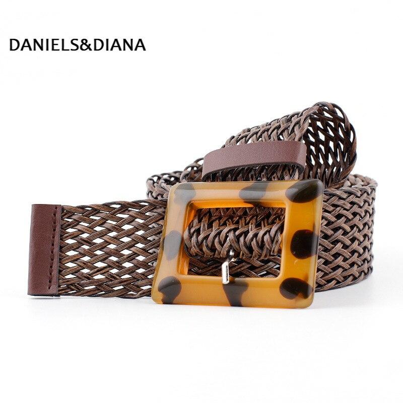 New pu woven wide belt ladies fashion wild spot leopard yellow buckle decorative belt