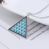 detroit become human game necklace energy logo geometry blue triangle enamel necklace for women man cosplay prop party gift