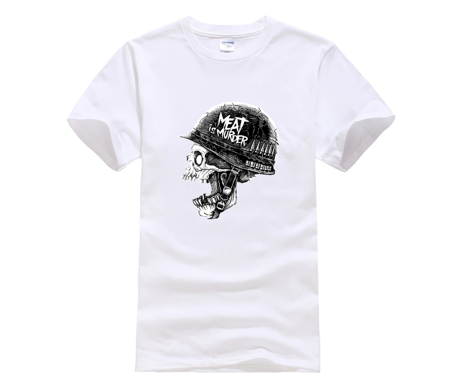 Moda casual masculina t camisa em torno do pescoço legal velocitee erkek et cinayet ordu kafatas mal l askeri kollu nova tshirt