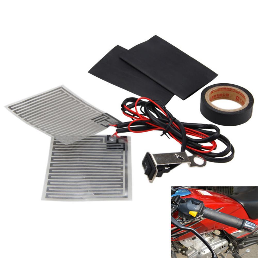 12V Motorcycle Electric Heating Handle Kit Heated Grip Pads+Heat Resistant Tape+Heat Resistant Covers Handlebar Pad