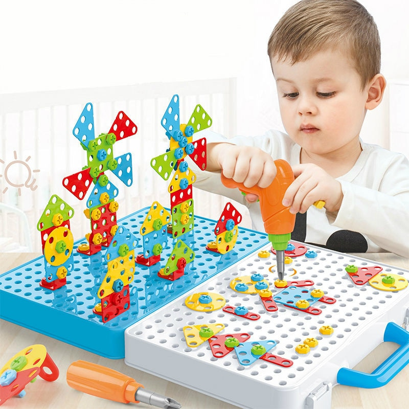 188/276/399pcs Electric Drill Screwing Block Toys Assembly Tools Sets DIY 3D Puzzle Toys Children Educational Toys Kids Gift