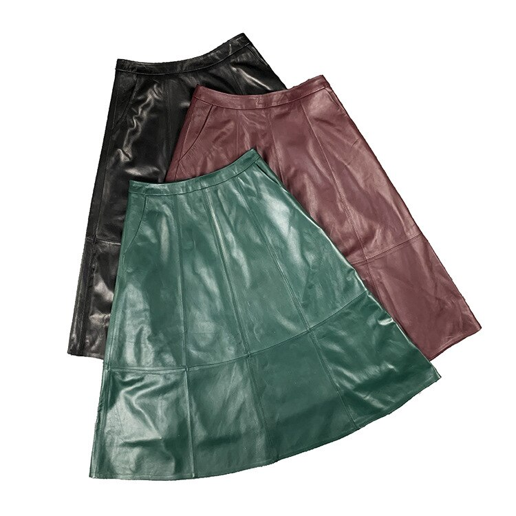 Summer Real Leather Sheepskin Womens A-line Skirts Green Red Long Midi Big Skirt Woman Vintage Elegant Skirt For Office Ladies