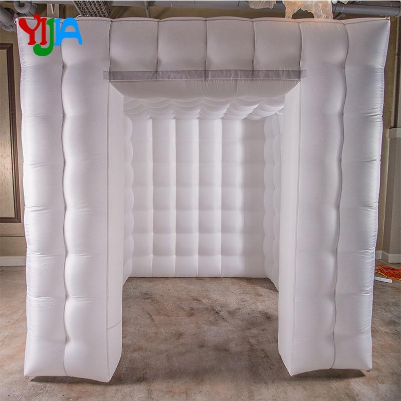 شحن مجاني أكسفورد المواد نفخ المقصورة كابينة تصوير مع 2 الأبواب لا أضواء خيمة مكعبة
