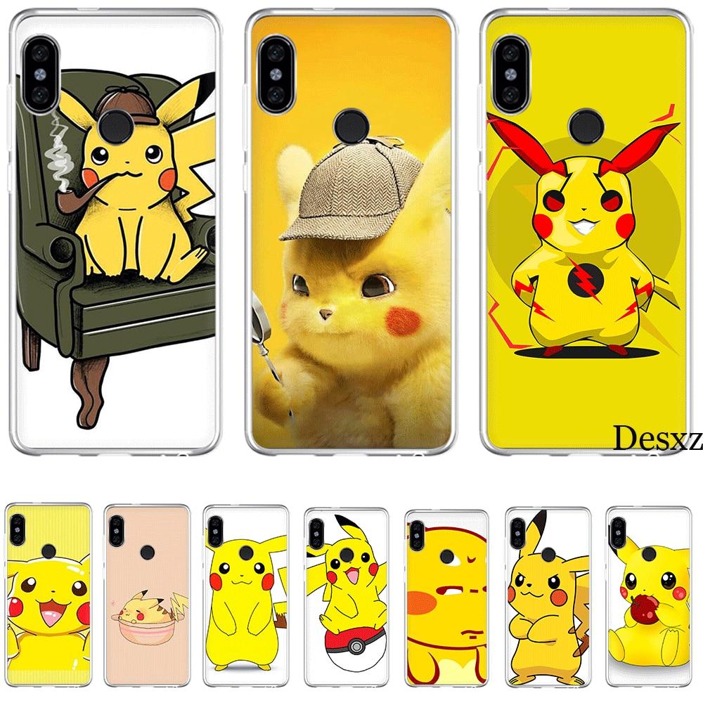 Case Cute Cartoon For Xiaomi Mi 5 5S 6 6X 8 SE A1 A2 Lite Mix 2S 6A 9 9se MAX 3 Cover Naughty Cute Detective Pikachu Silicone