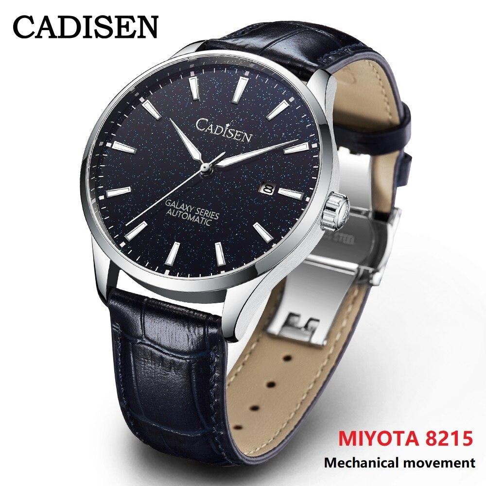 CADISEN جديد رجالي ساعة 100 متر مقاوم للماء ميوتا 8215 ساعات آلية الياقوت الكريستال التلقائي ساعة اليد Relogio Masculino