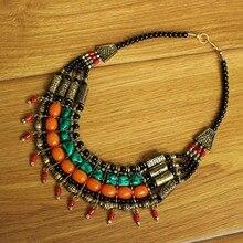 NK217 bijoux tibétains collier de perles multicouche en laiton pierre colorée Turquoises perles de corail collier de bohême du népal