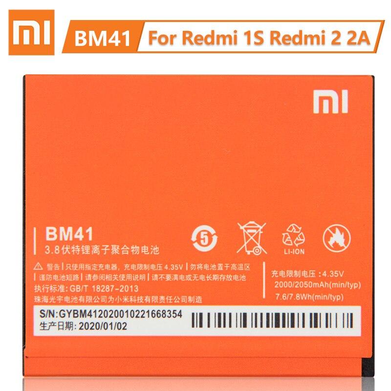 Xiaomi-بطارية بديلة BM41 أصلية 100% ، لهاتف Redmi 1S Redmi 2 Redmi 2A ، سعة كبيرة 2000 مللي أمبير