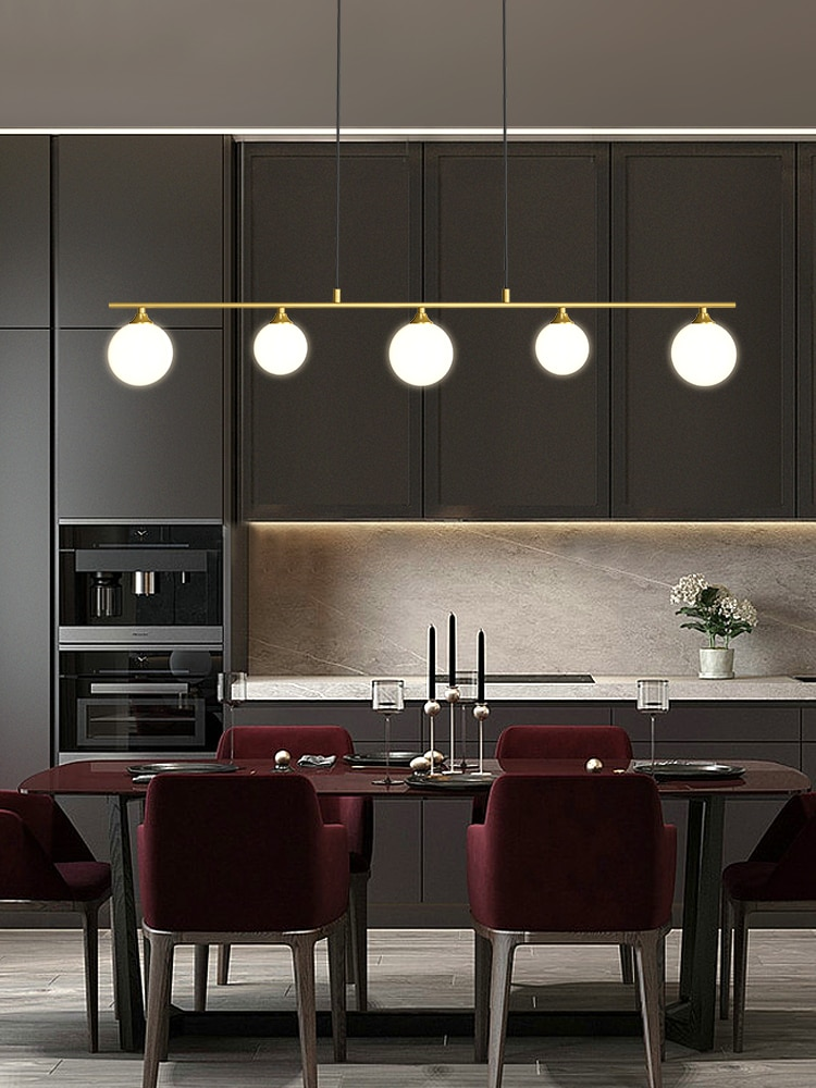 مصباح السقف المعلق LED الذهبي والأسود ، مصباح السقف الحديث المعلق على شكل كرة زجاجية ، مثالي للمطبخ أو غرفة الطعام.