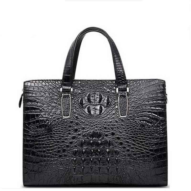 okmm crocodile Business men handbag  business casual crocodile leather one-shoulder bag men's bag male briefcases