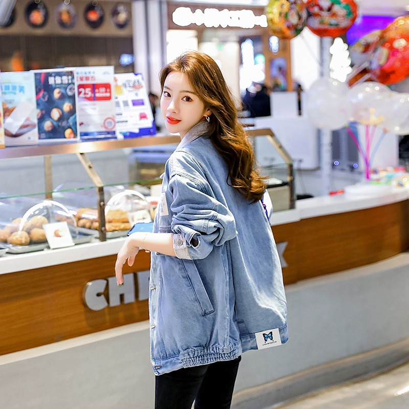 2021New Women's Denim Jacket Korean Style Solid Casual Blue Jackets Oversize Loose Boy Friend Streetwear Coat