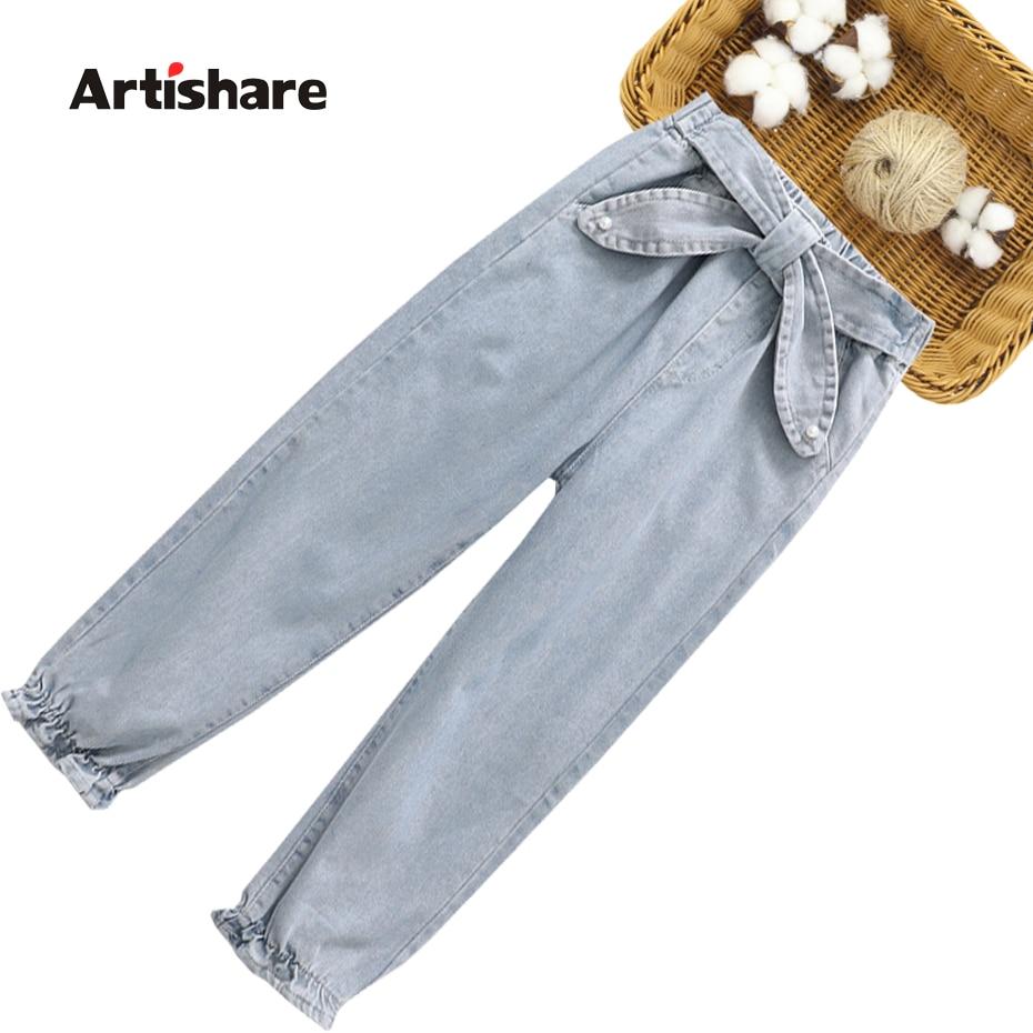 Джинсы с бантом для девочек, демисезонные детские джинсы с жемчугом, одежда для детей 6, 8, 10, 12, 14 Джинсы    АлиЭкспресс